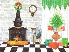 '50s Christmas fireside.