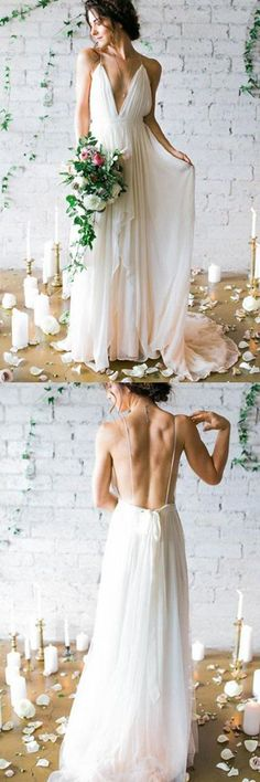 Simple Deep V-neck Sweep Train Ivory Wedding Dresses With Straps