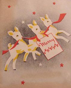 Merry Christmas - vintage greeting card, deer