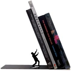 Artori Design Falling bookend ($19) ❤ liked on Polyvore featuring home, home decor, small item storage, home & gardendecorbookends, metal figurines, metal home decor, book ends, book bookends and metal book ends