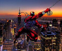 . Marvel Art, Marvel Comics, Ben Reilly, Scarlet Spider, Comic Books Art, Book Art, Spider Verse, Deadpool, Coloring Books