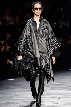 Black and Grey Printed Cape and Black Leather Pants - Roberto Cavalli | Fall 2014 Ready-to-Wear Collection | Style.com