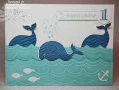 Oh, Whale card from stamps and matchhing Framelits in 2013 Stampin' Up! Spring Catalog