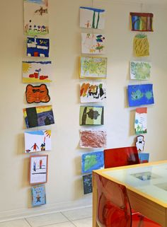 Use hanging wires to display kids art - great space-saver and visually interesting!