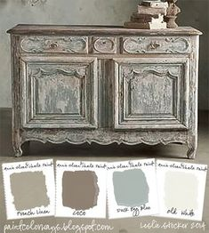 COLORWAYS Sideboard from Soft Surroundings inspire a color palette of soft neutrals. To recreate use Annie Sloan Chalk Paint®, French Linen, Coco, Duck Egg Blue, Old White