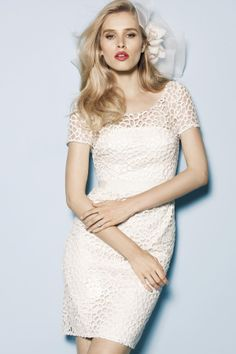 Ivory Lace Short Sleeves Slim Knee-length Cocktail Dress with Illusion Neckline