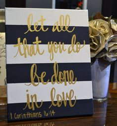 Hand Lettering Bible Verse Canvas Painting Canvas Wall Hanging Sign Navy Striped Gold Calligraphy Typography Wall Art Wall Decor Home Decor Bible Verse Canvas, Canvas Quotes, Wall Art Quotes, Bible Verses, Quote Wall, Scripture Art, Scriptures, Diy Canvas, Canvas Wall Art