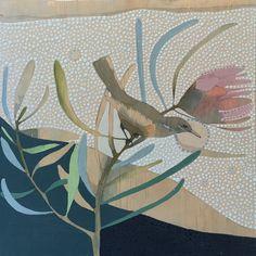 White-lined Honeyeater by Dana Kinter Protea Art, Bird Artwork, Bird Drawings, Botanical Art, Disney Art, Urban Art, Art And Architecture, Fine Art Photography, New Art