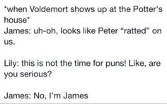 Harry potter marauders when voldermort comes Harry Potter Love, James Potter, Harry Potter Fandom, Harry Potter Memes, Must Be A Weasley, No Muggles, Yer A Wizard Harry, Fandoms, The Marauders