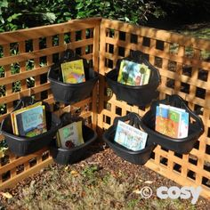 This is a great idea for outdoor storage. Bins small enough to hold just a few things, can be staggered or layered however you choose. I would paint them to bring a little color against a bland background. Outdoor Learning Spaces, Outdoor Play Areas, Outdoor Activities For Kids, Eyfs Outdoor Area Ideas, Summer Activities, Family Activities, Preschool Garden, Sensory Garden, Outdoor Classroom