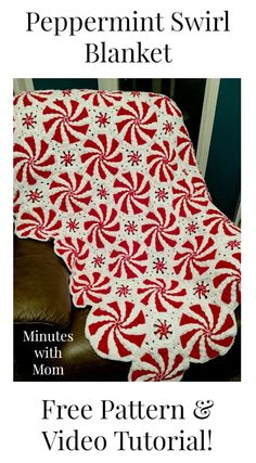 Crochet Peppermint Swirl Blanket! Perfect for Christmas!
