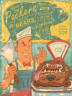 A faux vintage program cover for the Packers-Bears match-up at Lambeau Field in the 2012 season. 9 x 12 silver halide print, perfect gift for the Packers Vs Bears, Packers Baby, Packers Football, River Falls Wisconsin, Green Bay Packers Logo, Football Love, Go Pack Go, Green And Gold, Art Pictures
