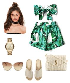 """""""Casual summer look #1"""" by ana-giura on Polyvore featuring WithChic, Yves Saint Laurent, Mint Velvet, Linda Farrow, Michael Kors and Missguided"""