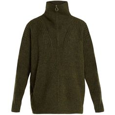 Isabel Marant Étoile Declan oversized high-neck ribbed-knit sweater ($535) ❤ liked on Polyvore featuring tops, sweaters, khaki, loose shirts, zip sweater, loose fitting shirts, zipper sweater and zip shirt