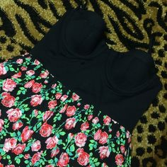 🅥🅢 🅟🅘🅝🅚 rare bra corset top flower dress Victoria's Secret rare black bra stretchy corset top with straps, puffy flowered skirt, gently used. Good condition PINK Victoria's Secret Dresses Mini