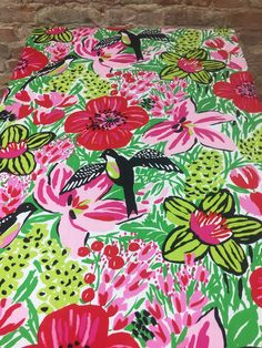 White tablecloth with red and pink flowers and birds, birds garden,modern style, animated birds and flowers by SiKriDream on Etsy
