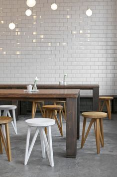 .the tiles the lights the wooden tables and wooden stools