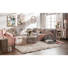 Campbell Cumulus Sectional with Right-Facing Sofa - Cement Simple Living Room Decor, Living Room Seating, Beautiful Living Rooms, Home Living Room, Living Room Designs, Cottage Living, Living Spaces, Modernisme, Farmhouse Living Room Furniture