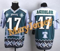 """$35.88 at """"MaryJersey""""(maryjerseyelway@gmail.com) Nike Eagles 17 Nelson Agholor Midnight Green Men Stitched NFL Elite Noble Fashion Jersey"""