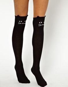 Lazy Oaf Kitty Knee High Socks @Cassandra Jecko  @Jamee Gordon