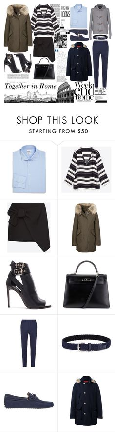 """october,here again"" by simona88 ❤ liked on Polyvore featuring Armani Collezioni, Colosseum, Woolrich, Burberry, Hermès, Sandro, Anderson's Belts, Tod's, Gran Sasso and LARA"
