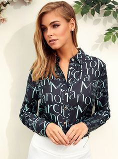 Jenna Logo Silk Blouse at Guess All Things New, Online Purchase, Sexy Dresses, Print Design, Elizabeth Turner, Glamour, Silk, Lifestyle, Logo