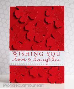 handmade card ... die cut flowers of same cardstock as base ... red ... happy sentiment ...