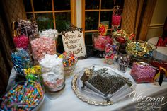 """""""Love is sweet, take a treat!""""  Vecoma at the Yellow River #candybar #candy #candywedding"""