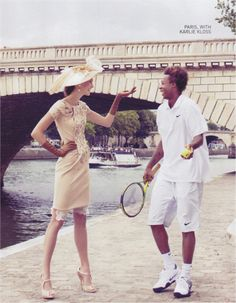 Model, Karlie Kloss and French tennis pro,Gaël Monfils for Vogue October 2009: French Open #wimbledonworthy