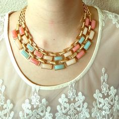 Statement necklace Gold and pastel statement necklace; condition: never worn Jewelry Necklaces