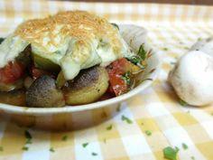 Cheesy Greek Mushroom Gratin Aka Greek Mushroom Saganaki  #ovenbaked, #vegetarian, #mushrooms