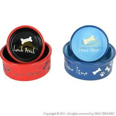 Dog Cat Feeder Hand-painted Round Ceramic Pet Bowl
