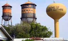 "Another stop on our trip out West.  Hot, Cold, and ""Home of Woody Guthrie"" Water towers.  A must see IMO.  Located in Okemah, OK."
