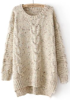 White Round Neck Long Sleeve Wool Blend Sweater