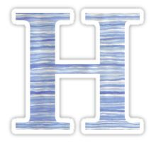 Letter H Blue Watercolor Stripes Monogram Initial Sticker