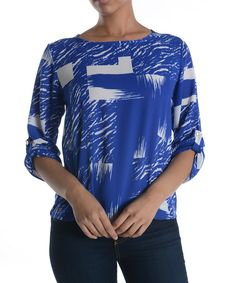 Blue Abstract Boatneck Top by Adrienne #zulily #zulilyfinds