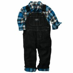 OshKosh Classic overalls lined in plaid flannel.  I am a sucker for cute little boys in overalls!