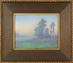 """~Rookwood~Artist: Lenore Asbury~Circa 1917~""""The River"""" Scenic Vellum Plaque~"""