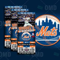 2.5x6 New York Mets Sports Party Invitation, Deter Sports Tickets Invites, NYM Baseball Birthday Theme Party Template by sportsinvites