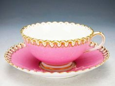 ¤ English teacup and saucer. Brown Westhead and Moore c.1850. Pink white gold