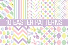 Easter Digital Paper Patterns ~~ 10 Commercial use 12x12 inch digital papers. Each sheet is saved at 300 DPI.