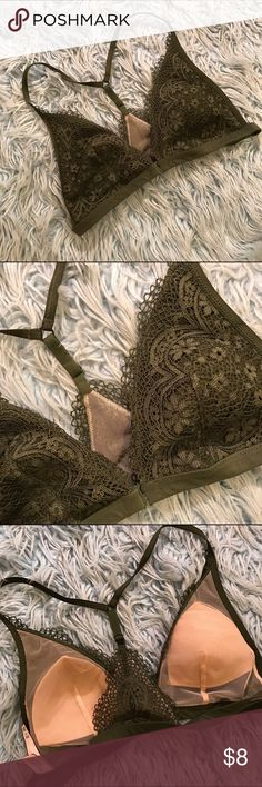 NWOT Victoria's Secret Bralette Green Victoria's Secret bralette I'd say it runs small. I am size 34DD and it's just a little too small Intimates & Sleepwear Bras