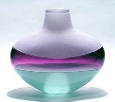 Flattened Banded Vase: Light Lavender, Amethyst & Celadon: Michael Trimpol: Art Glass Vase - Artful Home