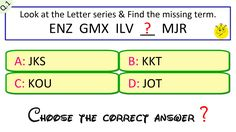 letter series questions and answers Question And Answer, This Or That Questions, Online Tests, Math Problems, Government Jobs, Brain Teasers, Science Experiments, Symbols, Lettering