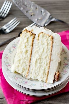 Almond Cream Cake. Light, moist and velvety with homemade cooked, whipped frosting.