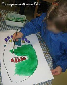 Va-t-en grand monstre vert !                                                                                                                                                                                 Plus Art Halloween, Halloween Spider, Big Green Monster, Ed Emberley, Lolo, Green Monsters, Kindergarten Art, Illustrations Posters, Classroom