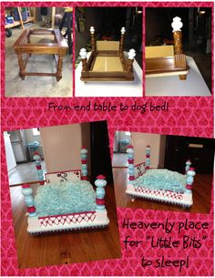 From end table to dog bed! Find Everything you need to re-create these looks at Sleepy Poet Antique Mall - I don't like the colors for my personal taste but I LOVE the concept. Dog Furniture, Furniture Stores, Diy Dog Bed, Dog Rooms, Animal Projects, Pet Beds, Doggie Beds, Dog Houses, Diy Stuffed Animals