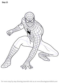 How to Draw Spiderman step by step, learn drawing by this tutorial for kids and adults. to drawing spiderman Spiderman Sketches, Spiderman Kunst, Spiderman Face, Spiderman Pictures, Spiderman Drawing, Marvel Drawings, Cartoon Drawings, How To Draw Spiderman, Avengers Coloring Pages