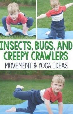 What fun ways to incorporate movement into an insect theme! I love that these kids yoga poses are all insect, bugs, or creepy crawlers themed. Great for gross motor, preschool activities, kindergarten activities and beyond! for kids Preschool Yoga, Preschool Lessons, Kindergarten Activities, Toddler Activities, Preschool Bug Theme, Elderly Activities, Dementia Activities, Preschool Games, Spring Activities