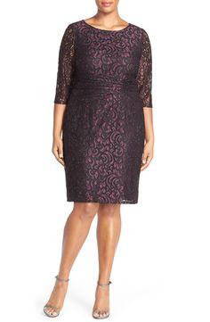 Adrianna PapellRuchedWaist Brocade LaceSheath Dress (Plus Size)